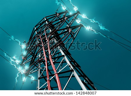 Pylon. Concept of electricity and energy. - stock photo