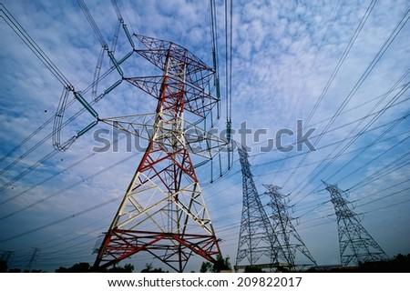 Pylon high voltage power line  - stock photo