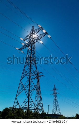 pylon, symbolic photo for energy production, supply and mains - stock photo