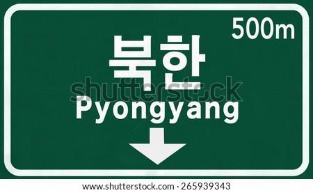 Pyongyang North Korea Highway Road Sign - stock photo