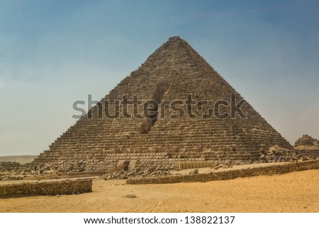 Pyramid  at Giza Necropolis, an archaeological site Several ancient monuments includes the three pyramids, the Great Sphinx, cemeteries, a workers' village and an industrial complex - stock photo