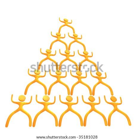Pyramid business scheme 3d humanoid icon - stock photo