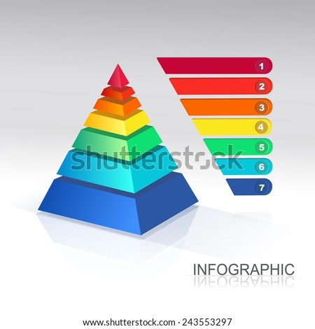 Pyramid chart for infographics and presentations - stock photo