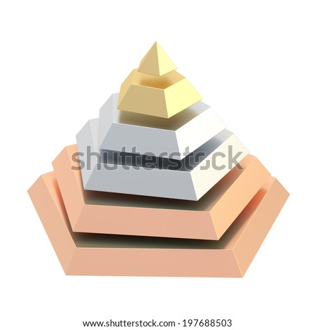 Pyramid divided into six gold, silver, bronze colored segment layers, isolated over the white background - stock photo