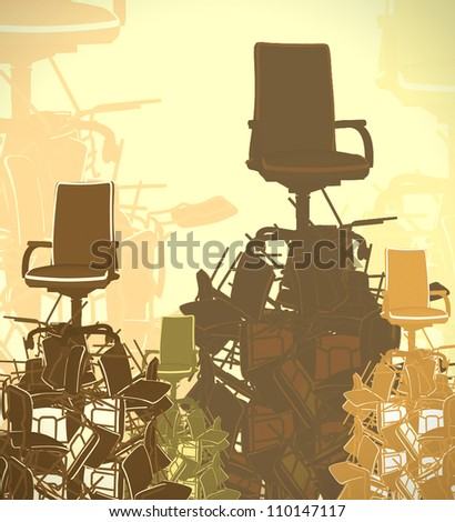 pyramid from chairs - stock photo