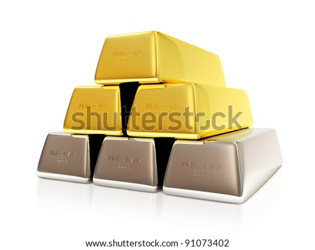 Pyramid from Golden and Silver Bars on white background - stock photo