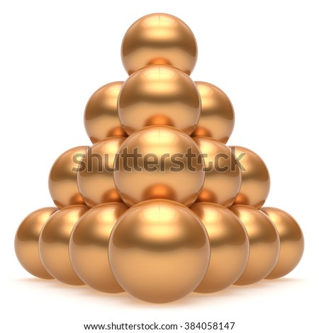 Pyramid hierarchy corporation sphere ball gold top order leadership element teamwork stable group business concept golden yellow shiny sparkling. 3d render isolated - stock photo