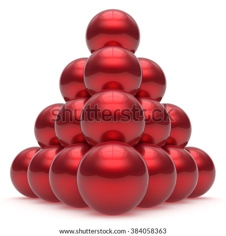 Pyramid hierarchy corporation sphere ball top order leadership element teamwork stable group business concept red shiny sparkling. 3d render isolated - stock photo