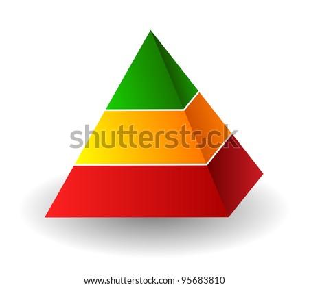 Pyramid illustration over white - stock photo