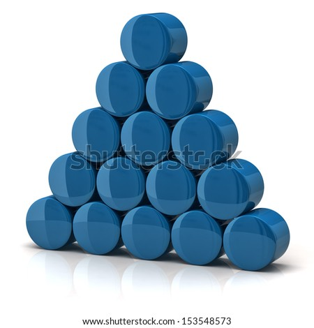 Pyramid made from blue cylinders - stock photo