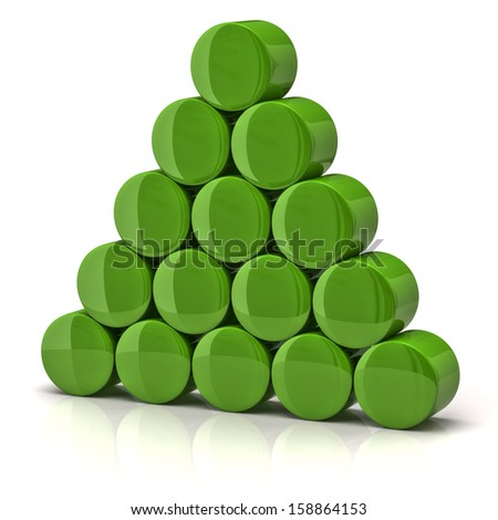Pyramid made from green cylinders - stock photo