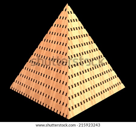 Pyramid made of wood. realistic. isolated on black background. 3d illustration - stock photo
