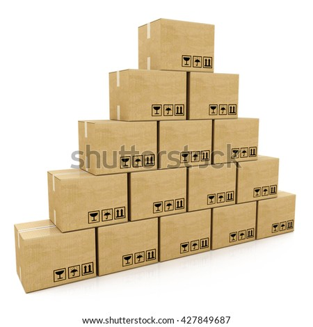 pyramid of cardboard boxes on a white background in the design of information related to the delivery. 3d illustration - stock photo