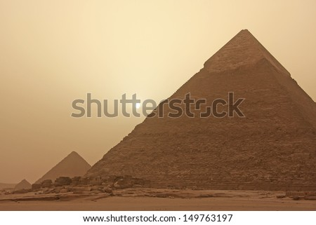 Pyramid of Khafre in a sand storm, Cairo, Egypt - stock photo