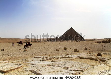 Pyramid of Menkaure in Giza - stock photo