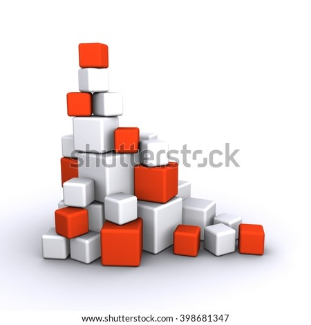 Pyramid of red and white cubes - stock photo