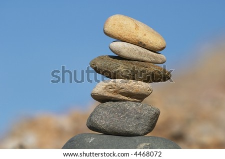 Pyramid of stones - stock photo