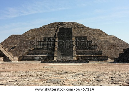 Pyramid of the Moon in Teotihuacan, Mexico - stock photo