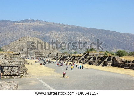 Pyramid of the Moon in Teotihuacan near Mexico City  - stock photo