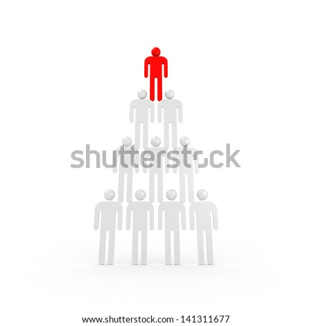 Pyramid of white abstract 3d people with one red leader on top - stock photo