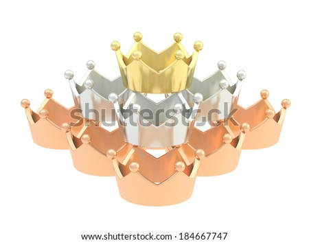 Pyramid pile of golden, silver, bronze crowns isolated over white background - stock photo