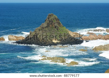 Pyramid rock at phillip island - stock photo