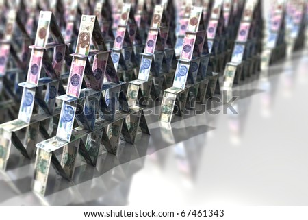 Pyramid scheme - Polish banknotes, ten, twenty, fifty and a hundred. - stock photo