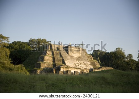 Pyramid structure at Altan Ha, one of the ruin sites in Belize - stock photo