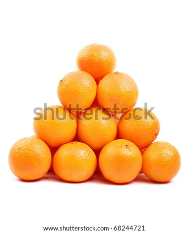 Pyramid tangerines isolated on white - stock photo