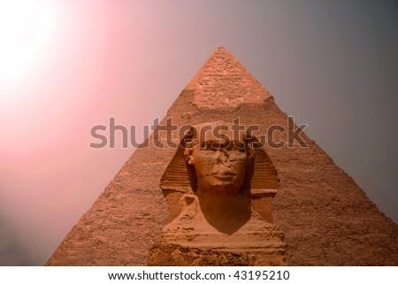 Pyramid with  Sphinx - stock photo