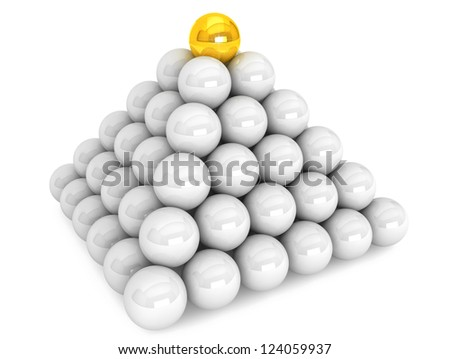 Pyramid with white and one golden balls on a white background - stock photo