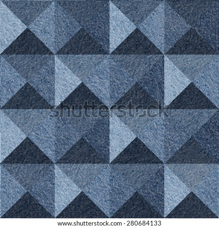 Pyramidal pattern - Interior wall - decorative tiles - abstract decoration panels - seamless background - Blue denim jeans texture - stock photo