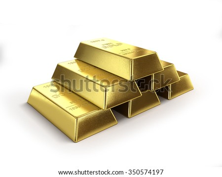 Pyramide from ingots - stock photo