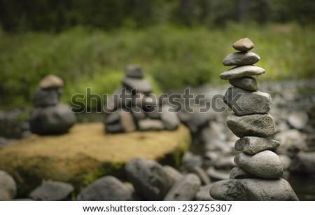 pyramides of stones - stock photo