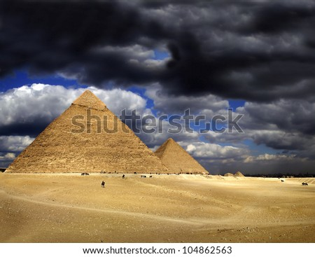 Pyramids of Giza, Egypt, UNESCO World Heritage Site - stock photo