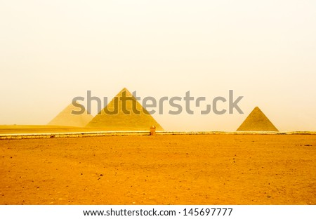 Pyramids tableland, The Giza Necropolis is an archaeological site Several ancient monuments includes the three pyramids, the Great Sphinx, cemeteries, a workers' village and an industrial complex - stock photo