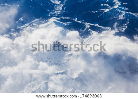 Pyrenees mountains amazing aerial view  - stock photo