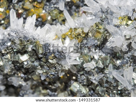 Pyrite And Galena Absorbed By Quartz Natural Crystal