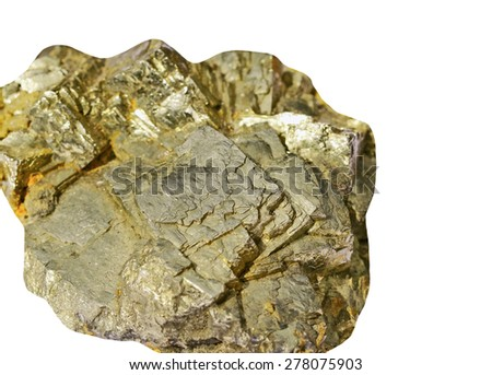 Pyrite on a white background - stock photo