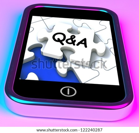 Q&A On Smartphone Showing Asking Inquiries And Answers - stock photo