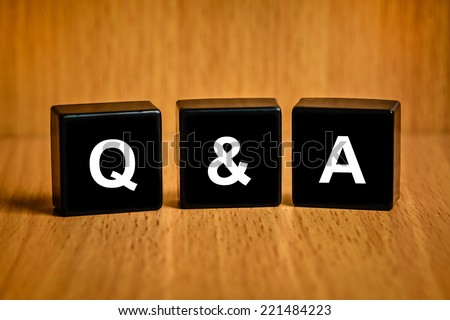 Q&A or Questions and answers text on black block - stock photo