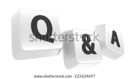 Q&A written in black on white computer keys. 3d illustration. Isolated background. - stock photo
