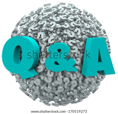 Q and A letters on a ball or sphere of question marks to illustrate asking for customer support, service, answers, solutions, instructions or advice in solving a problem - stock photo