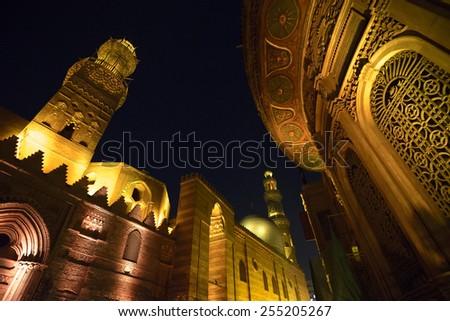 Qalawun complex at night, islamic Cairo, Egypt - stock photo