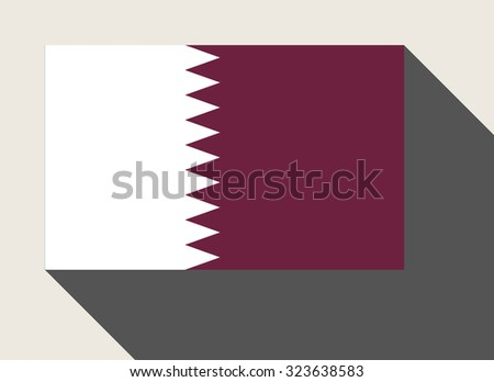 Qatar flag in flat web design style. - stock photo