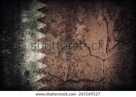 Qatar flag pattern on dirty old concrete wall texture ,retro vintage style - stock photo