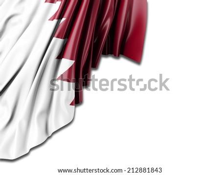 Qatar Flag with white - stock photo