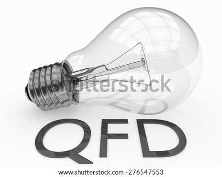 QFD - Quality Function Deployment - lightbulb on white background with text under it. 3d render illustration. - stock photo