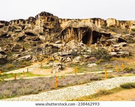 Qobustan national park in Azerbaijan - stock photo
