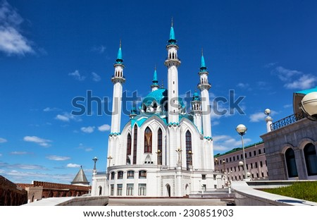Qol Sharif mosque against the blue sky with white clouds, Kazan, Russia - stock photo